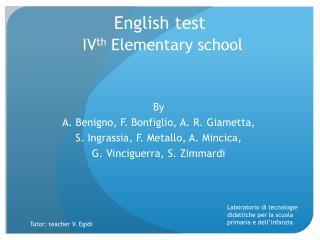 English test IV th E lementary school