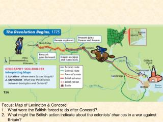 Focus: Map of Lexington & Concord What were the British forced to do after Concord?