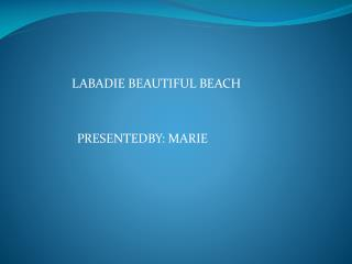 LABADIE BEAUTIFUL BEACH PRESENTEDBY: MARIE