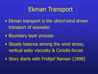 Ekman Transport
