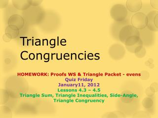 Triangle Congruencies