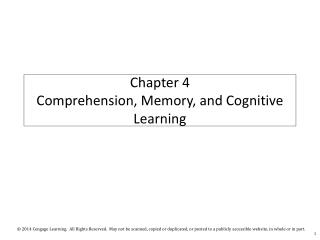 Chapter 4  Comprehension, Memory, and Cognitive Learning