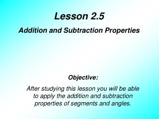Lesson 2.5 Addition and Subtraction Properties