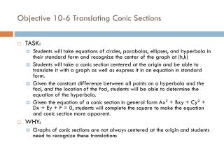 Objective 10-6 Translating Conic Sections