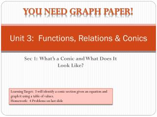 Unit 3:  Functions, Relations & Conics