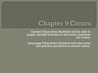 Chapter 9 Conics