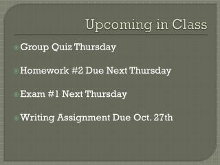 Upcoming in Class