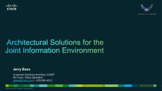 Architectural  Solutions for the  Joint Information Environment
