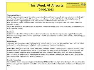 This Week At  Allsorts 04 /09/ 2013