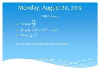 Monday, August 20, 2012