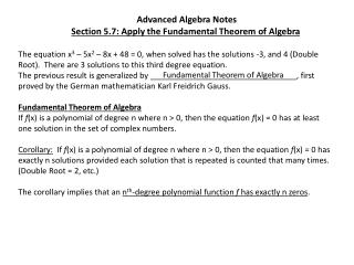 Advanced Algebra Notes Section 5.7: Apply the Fundamental Theorem of Algebra