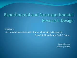 Experimental and  Nonexperimental  Research Design
