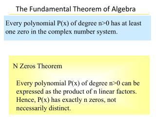 Every polynomial P(x) of degree n>0 has at least one zero in the complex number system.
