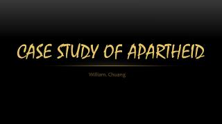 Case Study Of Apartheid
