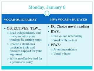Monday, January 6
