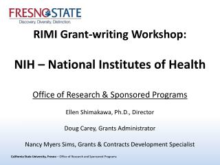 RIMI Grant-writing Workshop:  NIH � National Institutes of Health