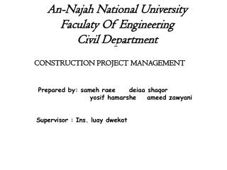 An- Najah  National  University Faculaty  Of Engineering Civil Department