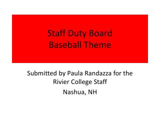 Staff Duty Board Baseball Theme