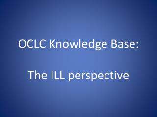 OCLC Knowledge Base: