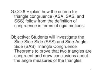 Side -Side-Side (SSS ) Congruent Postulate