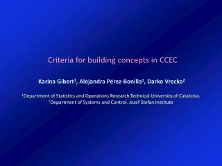 Criteria for building concepts in CCEC