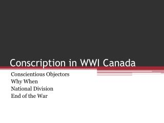 Conscription in WWI Canada