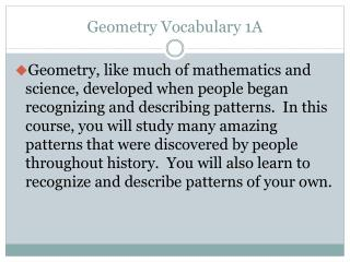 Geometry Vocabulary 1A
