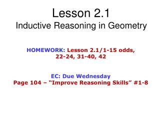 Lesson 2.1  Inductive Reasoning in Geometry
