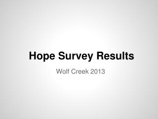 Hope Survey Results