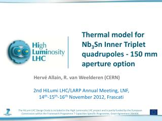 Thermal model for Nb 3 Sn Inner Triplet  quadrupoles  - 150 mm aperture option