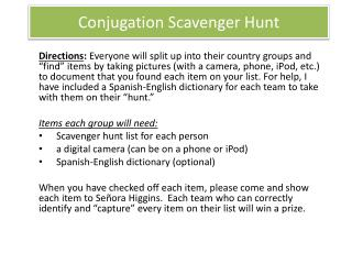 Conjugation Scavenger Hunt