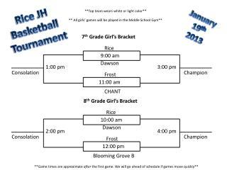 Rice JH  Basketball  Tournament