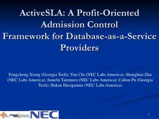 ActiveSLA : A Profit-Oriented Admission Control Framework for Database-as-a-Service Providers