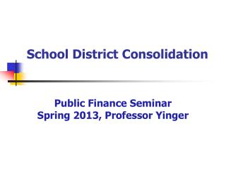 School District Consolidation