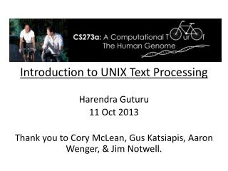 Introduction to UNIX Text Processing Harendra Guturu 11 Oct 2013