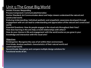 Unit 5:The Great Big World Artistic Process: Responding Process Component: Communicate/Internalize