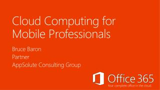 Cloud Computing  for Mobile Professionals