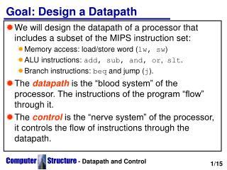 Goal: Design a Datapath