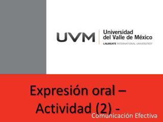 Expresión oral – Actividad (2) -