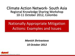 Nationally Appropriate Mitigation Actions: Examples and Issues