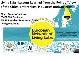Chair: Roberto Santoro ESoCE Net President