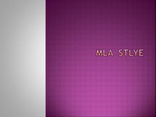MLA   Stlye