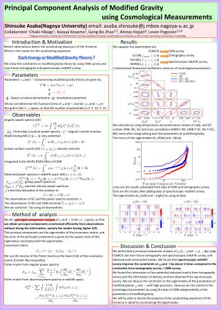 Parameters �    and    � characterizing modified gravity theory are given by
