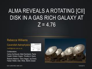 ALMA reveals a rotating [CII] disk in a gas rich galaxy at z = 4.76