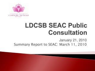 LDCSB SEAC Public Consultation