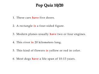 Pop Quiz 10/20