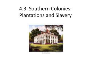 4.3  Southern Colonies :  Plantations  and  Slavery