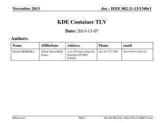 KDE Container TLV