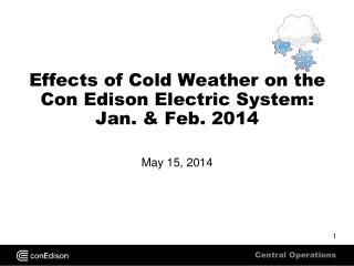Effects of Cold Weather on the Con Edison Electric System: Jan. & Feb. 2014