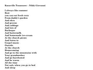 Knoxville  Tennessee – Nikki Giovanni